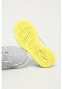 Szare buty sportowe Adidas z okrągłym noskiem, z cholewką, na sznurówki