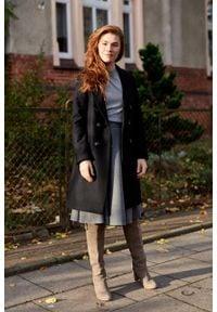 Marie Zélie - Płaszcz wełniany Debora czarny. Kolor: czarny. Materiał: wełna. Wzór: motyw zwierzęcy, ze splotem. Sezon: zima. Styl: klasyczny