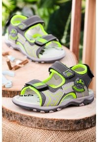 Casu - szare sandały na rzepy casu jf06. Zapięcie: rzepy. Kolor: szary