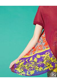 Manila Grace - MANILA GRACE - Bluzka z kolorowymi wstawkami. Kolor: czerwony. Materiał: wiskoza. Wzór: kolorowy