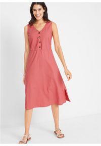 Sukienka lniana midi z plisą guzikową bonprix rabarbarowy. Kolor: różowy. Materiał: len. Długość: midi