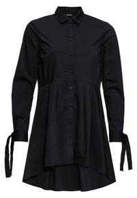Bluzka z dłuższym tyłem bonprix czarny. Kolor: czarny. Długość: długie. Styl: elegancki