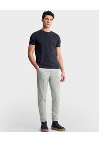 FAY - Jasnoszare spodnie chino. Kolor: szary. Materiał: bawełna, zamsz. Długość: długie. Wzór: aplikacja