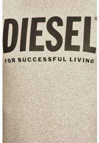 Szary t-shirt Diesel z nadrukiem, casualowy
