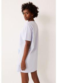 Undiz - Koszula nocna WHITEMARIZ. Kolor: biały. Materiał: dzianina. Długość: krótkie. Wzór: nadruk