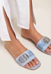 Renee - Niebieskie Klapki Scopiste. Nosek buta: otwarty. Kolor: niebieski. Wzór: aplikacja. Obcas: na obcasie. Styl: klasyczny. Wysokość obcasa: niski