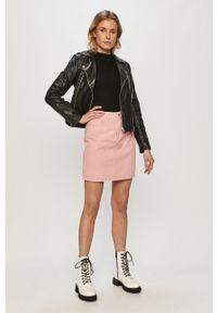 Vila - Spódnica jeansowa. Okazja: na co dzień. Kolor: różowy. Materiał: jeans. Styl: casual