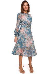 MOE - Miętowa Szyfonowa Sukienka w Kwiaty z Długim Rękawem. Kolor: miętowy. Materiał: szyfon. Długość rękawa: długi rękaw. Wzór: kwiaty
