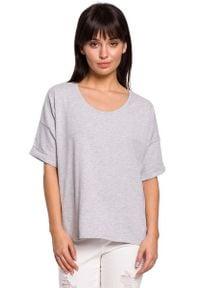 MOE - Szara Oversizowa Bluzka Bawełniana. Kolor: szary. Materiał: bawełna