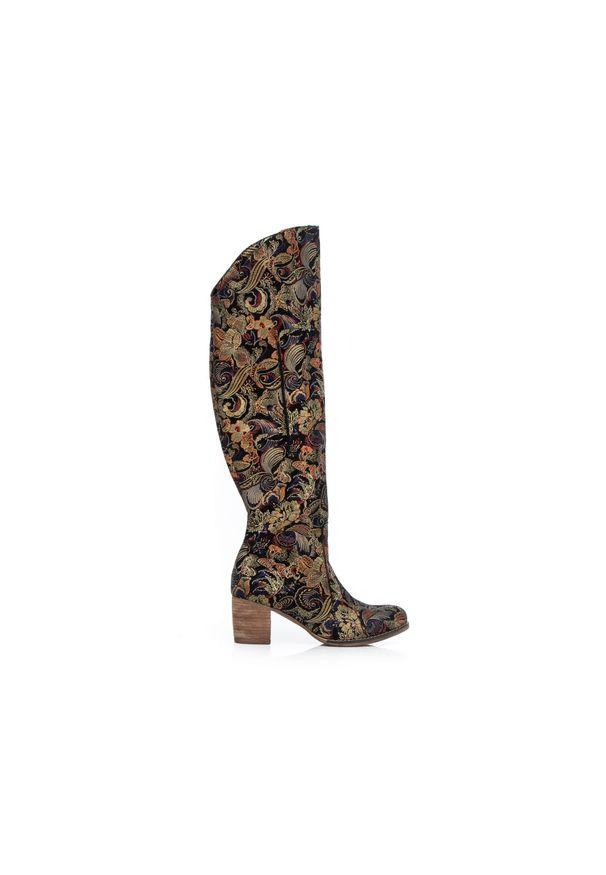 Złoty kozaki Zapato wąskie, z cholewką za kolano