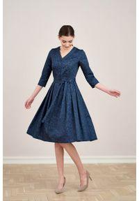 Marie Zélie - Sukienka Alodia Idella granatowa. Kolor: niebieski. Materiał: bawełna, satyna, skóra, materiał