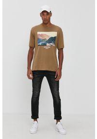 Premium by Jack&Jones - T-shirt bawełniany. Okazja: na co dzień. Kolor: brązowy. Materiał: bawełna. Wzór: nadruk. Styl: casual