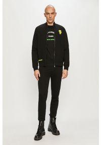 Czarna bluza rozpinana Karl Lagerfeld z aplikacjami, klasyczna, bez kaptura