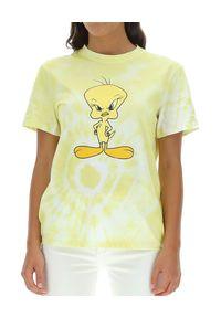 Żółty t-shirt MOA Concept klasyczny, z napisami