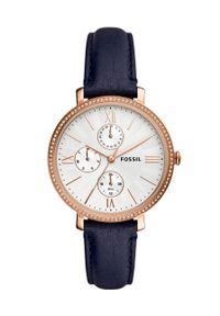 Fossil - Zegarek ES5096. Kolor: niebieski. Materiał: skóra, materiał