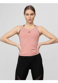 4f - Top treningowy damski. Kolor: różowy. Materiał: włókno, dzianina. Sport: fitness