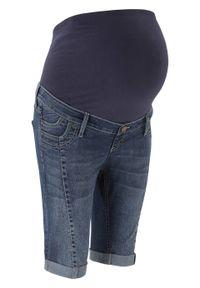 Bermudy dżinsowe ciążowe bonprix ciemny denim. Kolekcja: moda ciążowa. Kolor: czarny