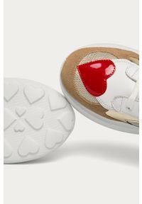 Białe buty sportowe Love Moschino na sznurówki, z cholewką, z okrągłym noskiem