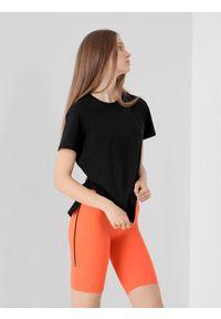 4f - T-shirt oversize z regulacją na plecach damski. Kolor: czarny. Materiał: bawełna, dzianina, materiał
