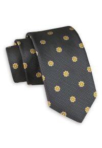 Szary krawat Angelo di Monti w kwiaty, elegancki