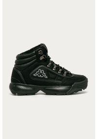 Czarne buty sportowe Kappa na obcasie, z cholewką