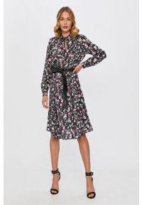 Czarna sukienka Karl Lagerfeld w kwiaty, casualowa