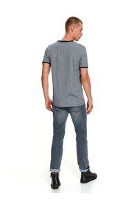 TOP SECRET - T-shirt krótki rękaw męski we wzory, w prążki. Okazja: na co dzień. Kolor: niebieski. Materiał: bawełna, dzianina. Długość rękawa: krótki rękaw. Długość: krótkie. Wzór: prążki. Sezon: jesień, zima. Styl: casual