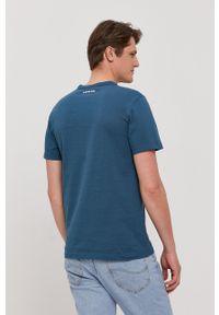G-Star RAW - G-Star Raw - T-shirt. Okazja: na co dzień. Kolor: niebieski. Materiał: bawełna, dzianina. Wzór: aplikacja. Styl: casual