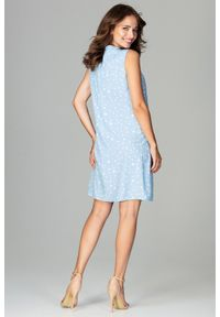Sukienka koktajlowa bez rękawów, w kropki, ze stójką, elegancka