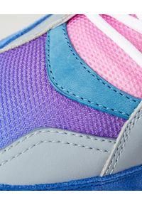 BUSCEMI - Niebieskie sneakersy Veloce. Okazja: na co dzień. Kolor: niebieski. Materiał: tiul, guma. Wzór: kropki, aplikacja