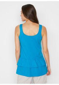 Top bawełniany z falbanami, na szerokich ramiączkach bonprix niebieski oceaniczny. Kolor: niebieski. Materiał: bawełna. Długość rękawa: na ramiączkach. Sezon: lato
