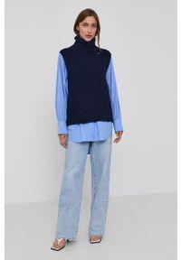 Victoria Victoria Beckham - Koszula bawełniana. Kolor: niebieski. Materiał: bawełna. Długość rękawa: długi rękaw. Długość: długie