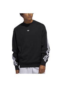 Czarna bluza Adidas klasyczna, z długim rękawem, w kolorowe wzory