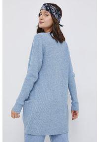 Vila - Kardigan. Okazja: na co dzień. Kolor: niebieski. Materiał: dzianina. Długość rękawa: długi rękaw. Długość: długie. Wzór: ze splotem. Styl: casual
