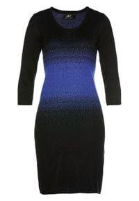 Sukienka dzianinowa bonprix szafirowo-czarny. Kolor: niebieski. Materiał: dzianina. Styl: elegancki