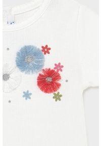 Mayoral - T-shirt dziecięcy. Okazja: na co dzień. Kolor: biały. Materiał: elastan, dzianina, poliester, bawełna. Długość rękawa: krótki rękaw. Długość: krótkie. Wzór: aplikacja. Styl: casual #2