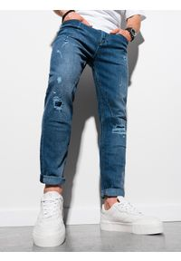 Ombre Clothing - Spodnie męskie jeansowe P935 - niebieskie - XXL. Kolor: niebieski. Materiał: jeans