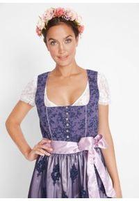 Sukienka w ludowym stylu z dekoltem w serce bonprix jagodowy wzorzysty. Kolor: niebieski. Materiał: koronka. Długość rękawa: na ramiączkach. Wzór: nadruk, koronka, aplikacja, kwiaty. Styl: elegancki