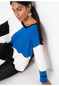 Biały sweter bonprix z kontrastowym kołnierzykiem