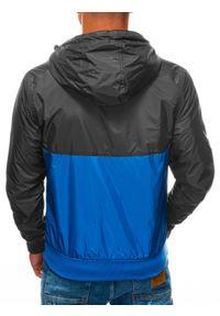 Niebieska kurtka Ombre Clothing z kapturem, na wiosnę