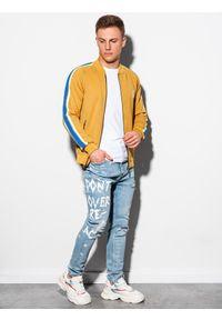 Ombre Clothing - Bluza męska rozpinana bez kaptura B975 - musztardowa - XXL. Typ kołnierza: bez kaptura. Kolor: żółty. Materiał: dresówka, dzianina, poliester. Wzór: ze splotem. Sezon: lato. Styl: retro