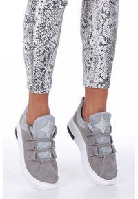 Casu - Szare buty sportowe creepersy z ozdobnym wiązaniem casu 319. Kolor: szary. Styl: sportowy