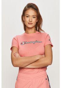 Różowa bluzka Champion z aplikacjami, casualowa