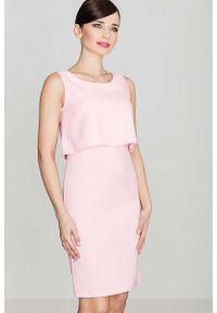 Różowa sukienka wizytowa Katrus na ramiączkach, elegancka