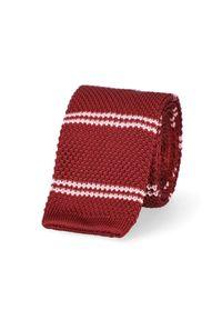 Lancerto - Krawat Bordowy w Paski. Okazja: na co dzień. Kolor: czerwony. Materiał: bawełna, dzianina, len, materiał, wełna, poliester. Wzór: paski. Sezon: jesień, lato, zima. Styl: klasyczny, casual