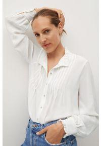 Biała koszula mango z długim rękawem, długa, ze stójką