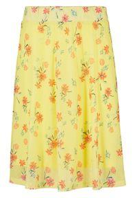 Spódnica siatkowa w kwiaty bonprix jasna limonka w kwiaty. Kolor: żółty. Materiał: elastan, poliester, materiał. Wzór: kwiaty