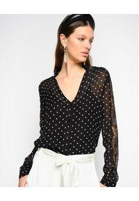 Pinko - PINKO - Koszula w groszki Marron. Kolor: czarny. Materiał: jeans, koronka. Długość rękawa: długi rękaw. Długość: długie. Wzór: grochy. Styl: elegancki