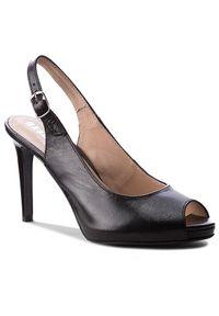 Czarne sandały Eksbut wizytowe, na uczelnię, na średnim obcasie