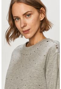 Szara bluza Jacqueline de Yong bez kaptura, długa, casualowa